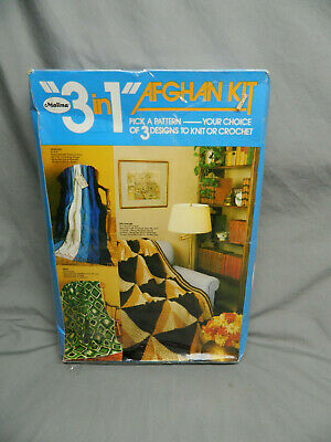 Vintage Malina Afghan Knitting Crochet Kit USA