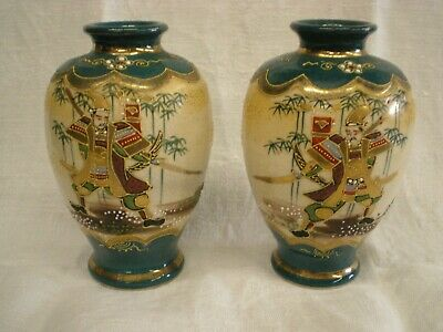 Pair of Vintage Satsuma Vases Decorated with Mirror Image Soldiers