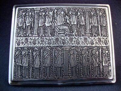 Antique Vintage Silver Persian Cigarette Tobacco Case Darius Arabic Islamic