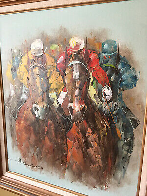 Racing Horses Oil On Canvas Signed And Framed -Title The Race