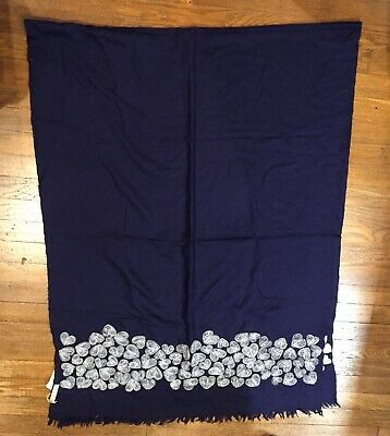 Kashmir Loom Scarf,Wrap,Shawl, Wool,NEW, Silver Hearts,Embroidered,Hand Woven,