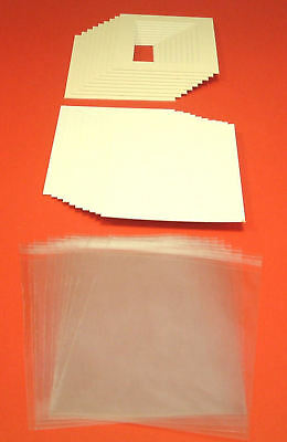 """BACK /& BAG 9 x 7/"""" for 7 x 5/"""" 10 ICE WHITE PICTURE MOUNTS"""