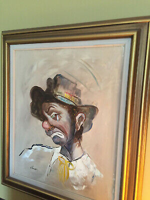 Clown Oil Painting On Canvas / Done with Frame/ Signed