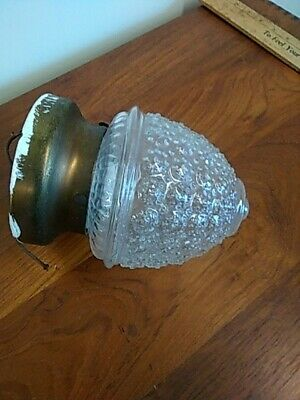 Vintage Art Deco Acorn Bee Hive Ceiling Light Fixture Glass Globe