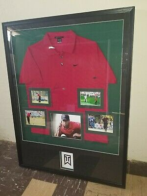 8d52f3ea Tiger Woods Masters Collection Sunday Red Autograph Nike Shirt Custom Frame  Coa