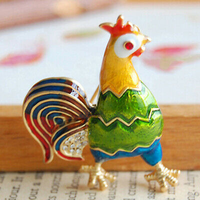 Colored Rhinestones Rooster Tone Hen Brooch Light High-grade Colored Tone Pin N7