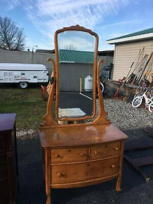 Antique Princess Dresser with Caster Wheels  Swivel Mirror