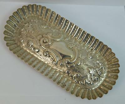 1884 Victorian Solid Silver Oval Pin Dish Tray