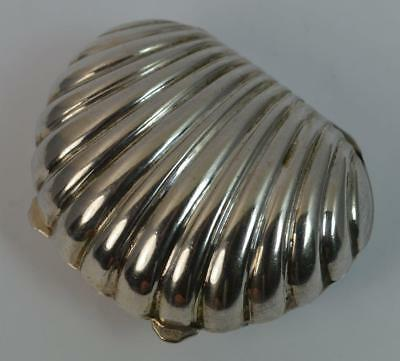 Antique Solid Silver Shell Shaped Box