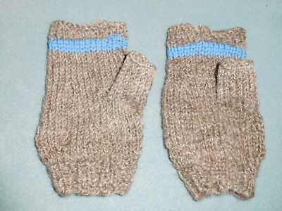 Hand woven and knitted Romney sheep wool half mittens hand warmers