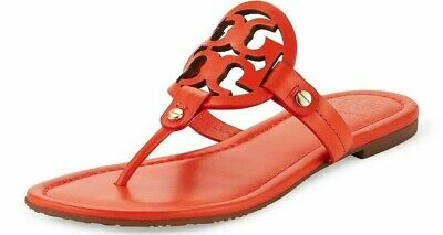 a4b87f58c TORY BURCH MILLER Fringe Logo Sandals Thong Spicy Orange 7.5 New W ...
