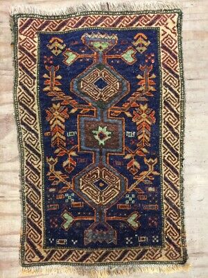 Old Handmade Persian Antique Vintage Wool Rug Carpet Shabby Chic,Size:2.3By1.8Ft