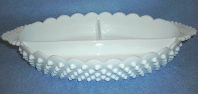 Fenton-Vtg Milk White Glass Embossed Hobnail Scalloped Rim Serving Dish ~3 Sect