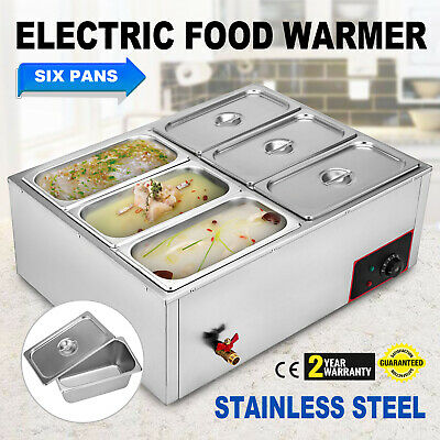 6-Pan Food Warmer Steam Table Steamer Kitchen Appliance Large Capacity 6 Deep