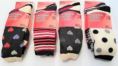 3 Pairs Of Ladies Design Thermal Socks Thick Warm Winter Boot Socks, Size 4-7