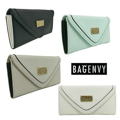 LYDC Soft Dimensions Faux Leather Envelope Purse In Black White Grey Mint Green