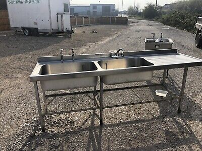 Commercial Double Sink Unit Stainless Steel