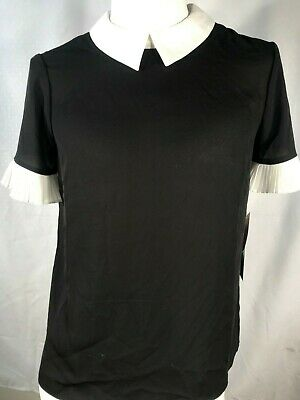bedeab07 Cece NWT Size XS Black Women's Pleat Sleeve Collared Crepe Blouse #6438-AX