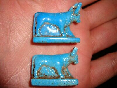 Rare Ancient Egypt Egyptian antique Faience AMULET Hathor Cow 1500 - 1100 B.C
