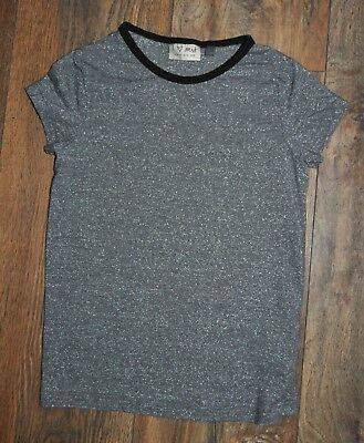 Next  5 Years Girls Grey Silver Sparkly Top Tee Shirt
