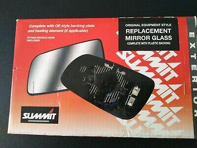 Fits on lhs of vehicle Summit Replacement Heated Wide Angle Mirror Glass With Backing Plate