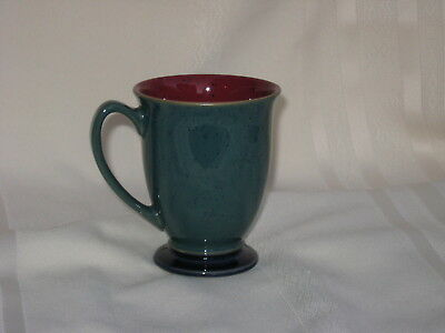 Denby Langley Harlequin Footed Mug Dark Green / Burgundy Red  England  1 Mug