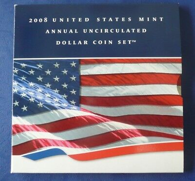 2008 Us Mint Annual Uncirc Dollar Coin Set!