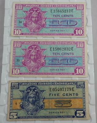 Series 521 5 & 10 Cents US Military Payment Certificate 3 Note Lot P0167