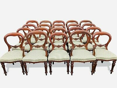 RARE Amazing set stunning 20 Victorian style Balloon back chairs French polished