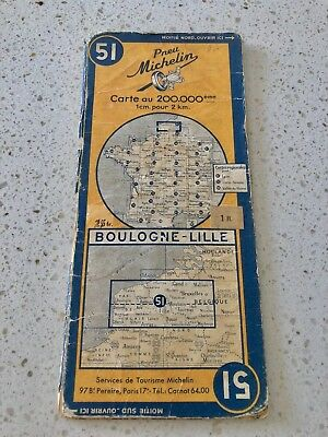 1948 Vintage Original Michelin Man Map of France No. 51 Boulogne - Lille French
