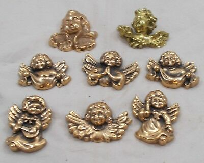 7 x French vintage BRONZE MASSIF angel decorative screw in figures (plus1 other)