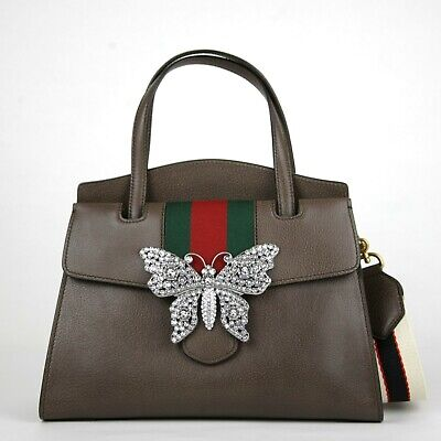 c69a98723eb2 $3490 Gucci Brown Leather Butterfly Totem Medium Top Handle Tote Bag 505342  2579