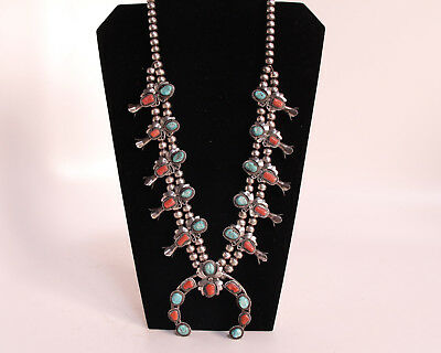 """Navajo Sterl Silver Turquoise & Oxblood Coral Squash Blossom Necklace 24"""" c1960s"""