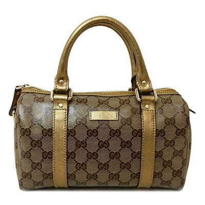 d077b70f9c Gucci Gg Cristal Mini Sac Boston Femmes Sac à Main Marron, or Authentiques