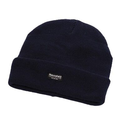 Mens Ladies 3M Thinsulate Thermal Black Warm Winter Beanie Hat One Size