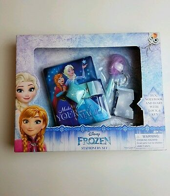 Disney Frozen Stationary Set Pen Notebook Diary Lock Kids Toys Gift Girls Party