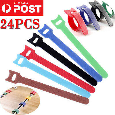 1Pack of 12/24 Hook Loop Magic Cable Ties Reusable Velcro Coded Organiser Cords
