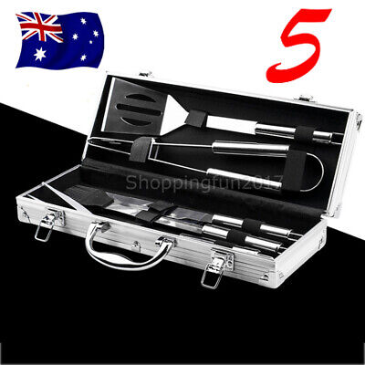 6Pcs Portable BBQ Accessories Grill Tools Set Outdoor Cooking Stainless Steel AU