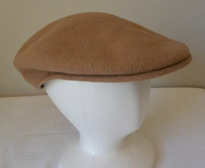 1561b61f Vtg KANGOL Cabbie Hat Men S Camel Tan WOOL Flat Newsboy Gatsby Driving Golf  Cap
