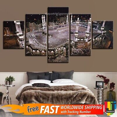5 Panels Home Decor Canvas Print Islamic Qibla Wall Art Mecca Great Mosque Kaaba