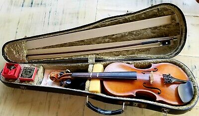 Child's Size Rare Johann Uhlrich Fichtl Violin With Fabric Lined Case And Bow.