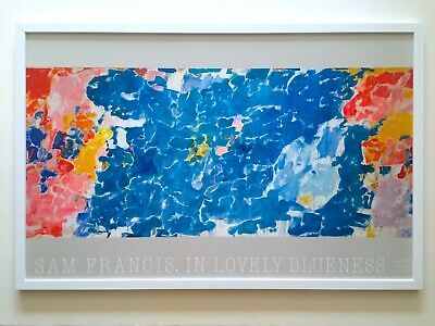 Sam Francis Rare 1985 Lithograph Print Lrg Framed Poster In Lovely Blueness 1955