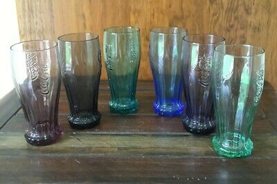 COCA COLA UPSIDE DOWN GLASSES X 6 Different Colours 300ml Excellent Condition