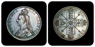 1887 Britain Double Florin - Roman 1 Variety - KM# 763 - Rainbow Toned Silver