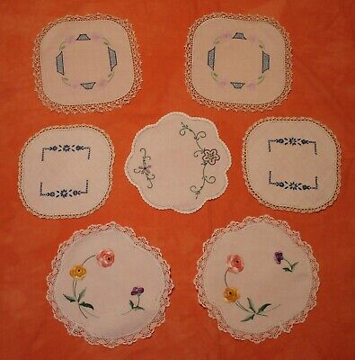 7 Vintage Small Embroidered Doilies