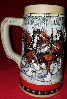 Vintage 3D Budweiser 1988 Clydesdale Horses Collector Holiday Stein - Mug Cup