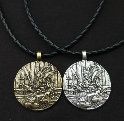 God Odin with Crow and Wolf Necklace Nordic Viking Pirate Jewels