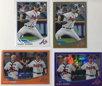 Alex Wood 2013 Topps 4 Rookie Card RC Lot Gold Chrome Orange Purple Refractor