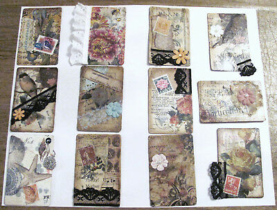 12 Handmade Collaged Journal Cards Great For Junk Journals,Scrapbooks, Diaries