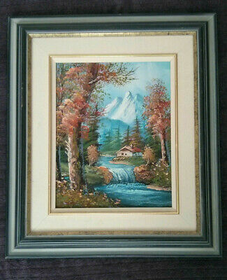 Oil Painting On Canvas Fall scene, Mountain, River, Forest, Framed.